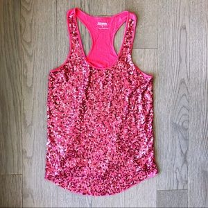 Express Coral Sequin Racerback Tank Top